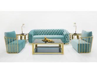 Divani Casa Voss Modern Blue Velvet Sofa