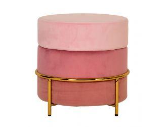 Modrest Wallace - Modern Pink & Gold Fabric Ottoman