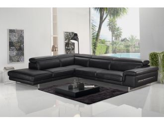 Accenti Italia Westport - Italian Modern Dark Grey Leather Left Facing Sectional Sofa