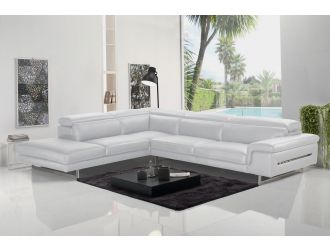 Accenti Italia Westport - Italian Modern White Leather Left Facing Sectional Sofa