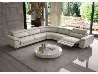 Coronelli Collezioni Wonder - Italian Modern Light Taupe Leather Sectional Sofa with Recliners