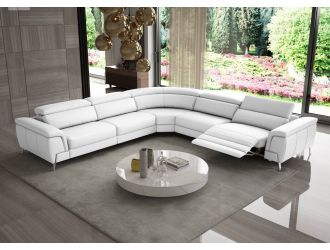 Coronelli Collezioni Wonder - Italian Modern White Leather Sectional Sofa with Recliners