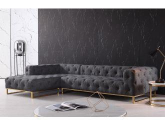 Divani Casa Willa - Modern Grey Fabric Left Facing Sectional Sofa