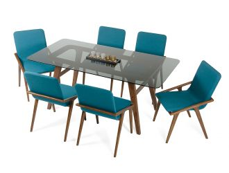 Modrest Zeppelin Mid-Century Smoked Glass Dining Table