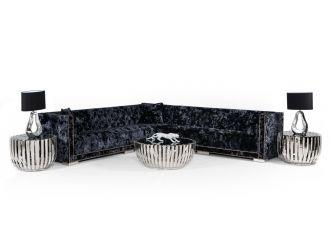 Divani Casa Fredrick - Modern Black Crushed Velvet Sectional Sofa
