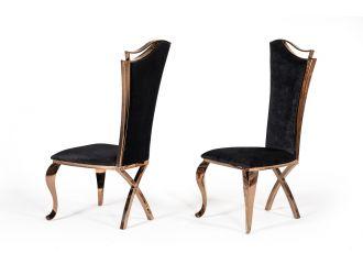 Modrest Bonnie Transitional Black Velvet & Rosegold Dining Chair (Set of 2)