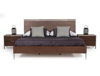 Nova Domus Conner Modern Dark Walnut & Faux Concrete Bed
