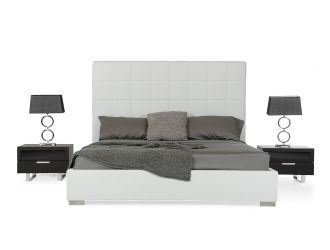 Francis Modern White Leather Bed