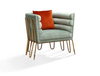 Divani Casa Bixby Modern Light Green & Gold Lounge Chair
