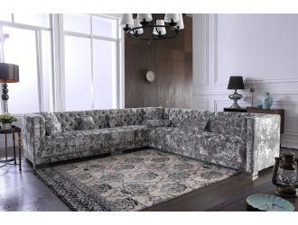 Divani Casa Fredrick - Modern Grey Crushed Velvet Sectional Sofa