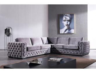 Divani Casa Jean - Modern Grey Velvet Sectional Sofa