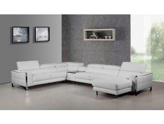 Divani Casa Arles Modern White Leather Sectional Sofa
