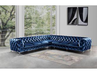 Divani Casa Delilah - Modern Blue Fabric Sectional Sofa