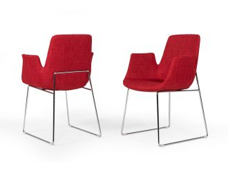 Modrest Altair Mid-Century Red Fabric Dining Chair