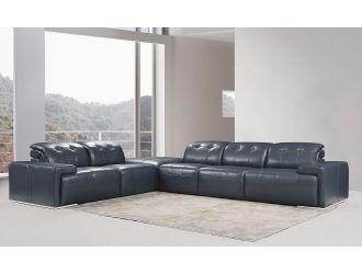 Divani Casa Grafton - Modern Blue Leather Sectional Sofa