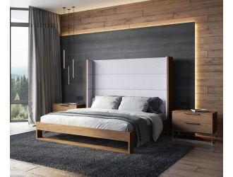Modrest Heloise - Contemporary Grey Fabric & Walnut Trim Bed