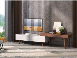 Modrest Noelle Modern White & Walnut TV Stand