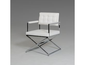 Modrest Cosme Modern White Leatherette Dining Armchair