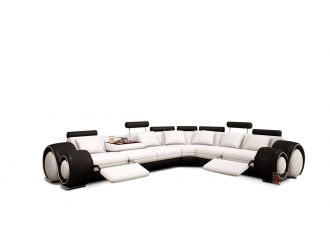 4087 Modern White and Black Leather Sectional Sofa