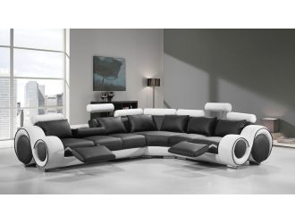 Divani Casa 4087 - Modern Black + White Bonded Leather Sectional Sofa with Recliners