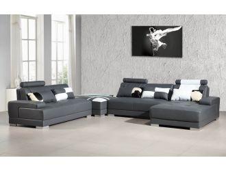 Phantom Contemporary Grey Leather Sectional Sofa w/ Ottoman