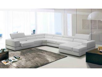 Divani Casa Pella - Modern White Italian Leather U Shaped Sectional Sofa