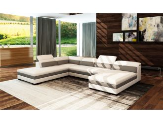 Divani Casa 5127 Modern White & Grey Bonded Leather Sectional Sofa