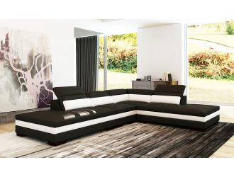 Divani Casa 5127B Modern Black & White Bonded Leather Sectional Sofa
