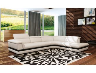 Divani Casa 5130 Modern White & Black Bonded Leather Sectional Sofa