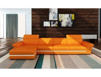 Divani Casa 5136B Modern Orange & White Bonded Leather Sectional Sofa