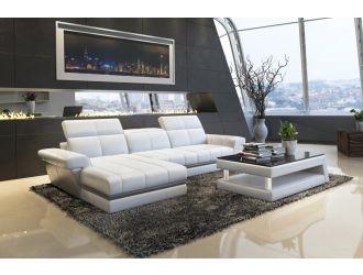 Divani Casa 5136C Modern White & Grey Bonded Leather Sectional Sofa