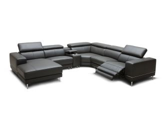 Divani Casa Wade Modern Dark Grey Leather Sectional Sofa w/ 2 Electric Recliners and Console