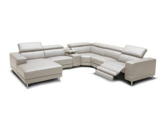 Divani Casa Wade Modern Light Grey Leather Sectional Sofa w/ 2 Electric Recliners and Console