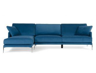 David Ferrari Achen - Modern Blue Velvet Left Facing Sectional Sofa