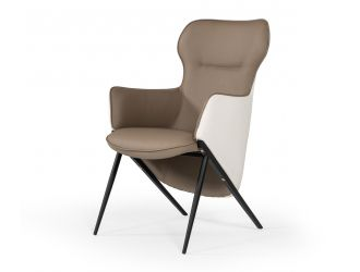 Modrest Coreen Modern White & Brown Bonded Leather Accent Chair
