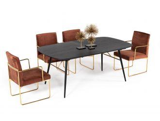 Modrest Billy Modern Black Oak & Gold Extendable Dining Table
