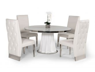 Modrest Cabaret Modern White Round Dining Table
