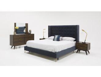 Modrest Galit Modern Blue Velvet Upholstered Bed