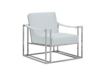 Modrest Larson Modern White Leatherette Accent Chair