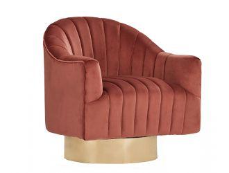 Divani Casa Parson Modern Copper Velvet Swivel Armchair