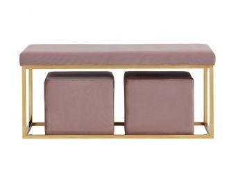 Divani Casa Walden Modern Mauve Velvet Bench & Ottoman Set