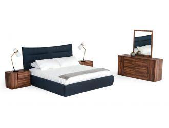 Modrest Barista - Italian Modern Dark Blue Upholstered Bed