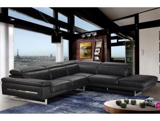 Accenti Italia Lazio - Italian Black Leather Right Facing Sectional Sofa