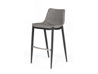 Modrest Jane - Modern Grey Eco-Leather Bar Stool (Set of 2)