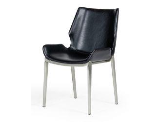 Modrest Tina - Modern Black Eco-Leather Dining Chair (Set of 2)