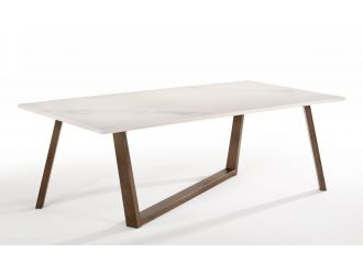 Nova Domus Jozy - Modern Marble & Walnut Dining Table