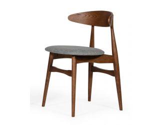 Modrest Prospect - Modern Grey Fabric & Walnut Dining Chair (Set of 2)