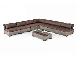 Modrest Delaware - Modern Concrete Modular Sectional Sofa Set with Rectangular Coffee Table