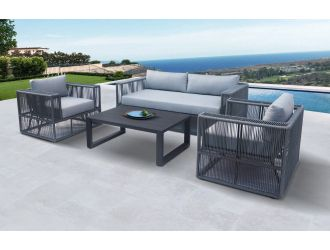 Renava Whimsy - Modern Outdoor Light Grey & Dark Grey Sofa Set