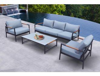 Renava Kiowa - Modern Outdoor Grey & Black Sofa Set